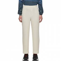 Homme Plisse Issey Miyake Off-White Pleats Tailored Straight Leg Trousers 192729M19102903GB