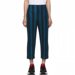 Homme Plisse Issey Miyake Blue and Black Stripe Rod Trousers 192729M19103502GB