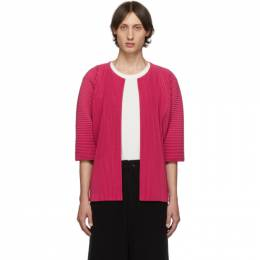 Homme Plisse Issey Miyake Pink Pleated Open Front Cardigan 192729M20000304GB