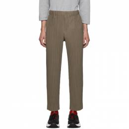 Homme Plisse Issey Miyake Khaki Tailored Pleats Trousers 192729M19103002GB
