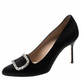 Manolo Blahnik Black Satin Olek Crystal Embellished Pumps Size 38.5 211043
