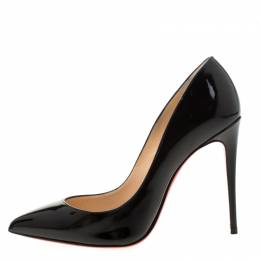 Christian Louboutin Black Patent Leather Pigalle Follies Pointed Toe Pumps Size 35.5 211522