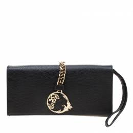 Versace Collection Black Pebbled Leather Clutch 211216