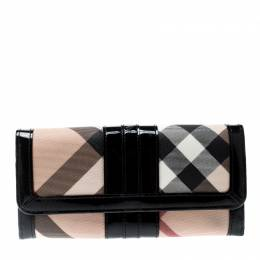 Burberry Beige/Black PVC and Patent Leather Penrose Continental Wallet 208825