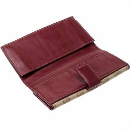 Gucci Beige/Burgundy GG Canvas and Leather Continental Wallet 210847