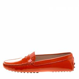 Tod's Orange Patent Leather Penny Loafers Size 39 210877