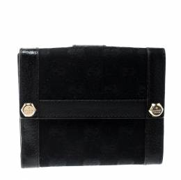 Gucci Black GG Canvas and Leather Charmy French Wallet 208930