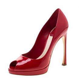 Dior Rouge Red Patent Leather Peep Toe Pumps Size 36.5 210863
