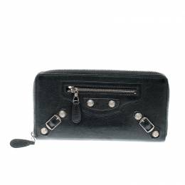Balenciaga Anthracite Leather Continental Zip Around Wallet 209334