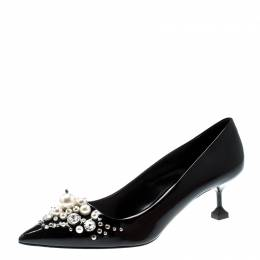 Miu Miu Black Patent Leather Faux Pear And Crystal Embellished Pointed Toe Pumps Size 39 211036