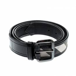 Burberry Black Beat Check Nylon and Leather Belt 110CM 209011