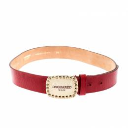 Dsquared2 Red Lizard Embossed Leather Belt 80CM 209016
