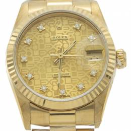 Rolex Champagne Diamond Dial Yellow Gold Date Just President Band Women'S Watch 31MM 211636