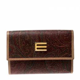 Etro Brown Paisley Print Coated Canvas Compact Wallet 210830