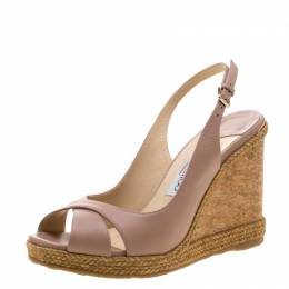 Jimmy Choo Pale Pink Leather Amely Espadrille Trim Cork Wedge Slingback Sandals Size 39 209790