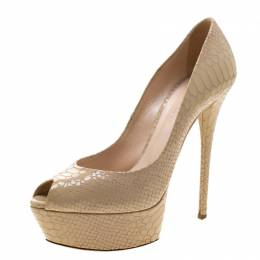 Casadei Beige Python Embossed Leather Peep Toe Platform Pumps Size 38.5 210733
