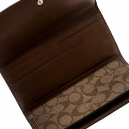 Coach Brown Signature PVC and Leather Checkbook Wallet 208506
