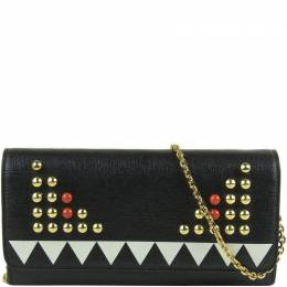 Fendi Black Leather Bugs Monster WOC Clutch Bag 209668