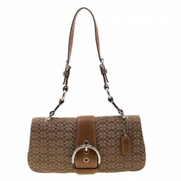Coach Beige/Brown Signature Canvas and Leather Shoulder Bag 210599