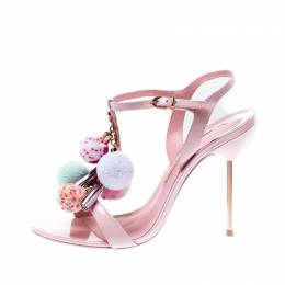 Sophia Webster Pink Leather Layla Pom Pom Embellished T-Strap Sandals Size 39 207059