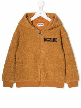 Moschino Kids - textured logo embroidered hoodie 60ULIA66950359590000