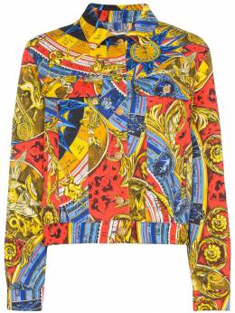 Moschino - Roman scarf-print denim jacket 90555995953399000000