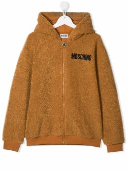 Moschino Kids - TEEN logo embroidered hooded jacket 60ULIA66950336980000