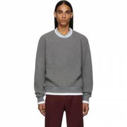 Thom Browne Grey Waffle Wool Relaxed Fit Crewneck Sweater 192381M20100107GB
