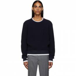 Thom Browne Navy Waffle Wool Relaxed Fit Crewneck Sweater 192381M20100203GB