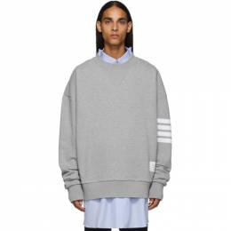 Thom Browne Grey 4-Bar Oversized Crewneck Sweatshirt 192381M20400602GB