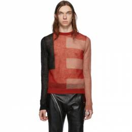 Rick Owens Black and Red Cropped Biker Level Sweater 192232M20100104GB