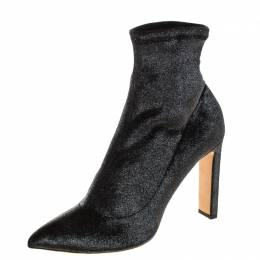 Jimmy Choo Metallic Gunmetal Stretch Velvet Louella Sock Boots Size 40.5 210881