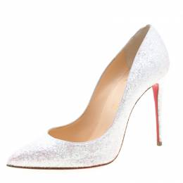 Christian Louboutin White Glitter Givre Pigalle Follies Pointed Toe Pumps Size 37.5 211067