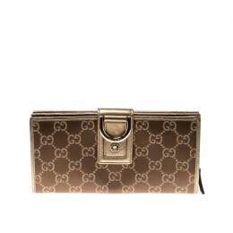 Gucci Bronze/Gold GG Canvas and Leather D Ring Wallet 211327