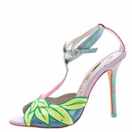 Sophia Webster Multicolor Patent Leather Flamingo Peep Toe T Strap Sandals Size 38 210997
