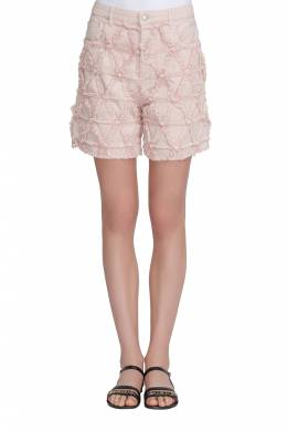 Isabel Marant Pink Frayed Stretch Denim Gustave Shorts L 211471