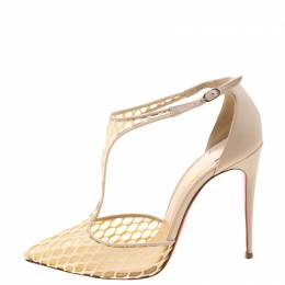 Christian Louboutin Beige Lace Salonu Pointed Toe T Strap Sandals Size 38.5 210868