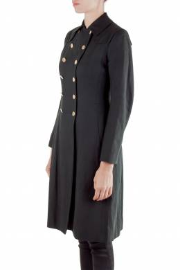 Moschino Black Linen Gold Button Detail Trench Coat M 211384