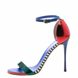 Sergio Rossi Multicolor Patent Leather Ankle Strap Open Toe Sandals Size 40 210925