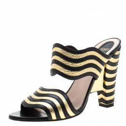 Fendi Metallic Gold/Black Leather Hypnosis Sandals Size 38 211031