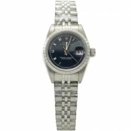 Rolex Navy Stainless Steel Date Just Roman Numbers Dial Women'S Watch 26MM 211720