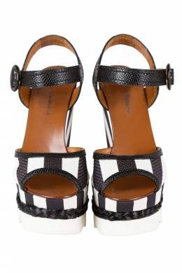 Dolce&Gabbana Monochrome Leather And Lizard Embossed Leather Ankle Strap Platform Wedge Sandals Size 38 210911