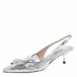 Prada Metallic Silver Leather Bow Detail Pointed Toe Slingback Sandals Size 41 211185