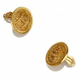 Chanel Vintage Engraved Gold Tone Clip-On Earrings 65760