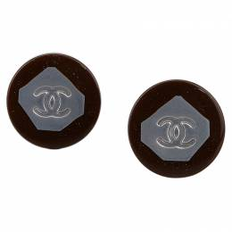 Chanel CC Two Tone Round Clip-On Earrings 89072