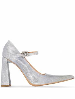 AREA - Silver 90mm Mary Jane Leather Pumps 9F659338398300000000