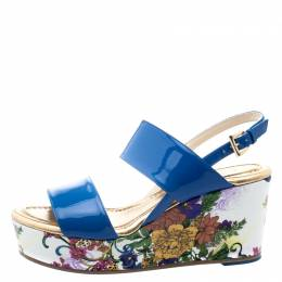 Loriblu Blue Patent Leather Floral Printed Wedge Sandals Size 37.5 111131