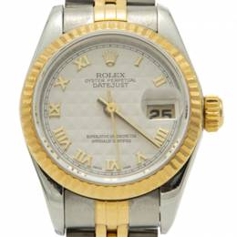 Rolex Ivory Pyramid Dial Steel & Yellow Gold Datejust Women'S Watch 26MM 212564