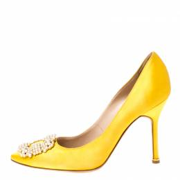 Manolo Blahnik Yellow Satin Hangisi Pearl Embellished Pumps Size 37.5 211979