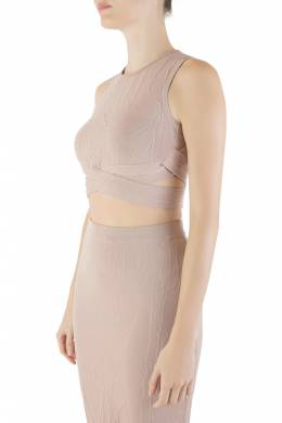 Jonathan Simkhai Blush Pink Textured Intarsia Knit Sleeveless Crop Top XS 212481